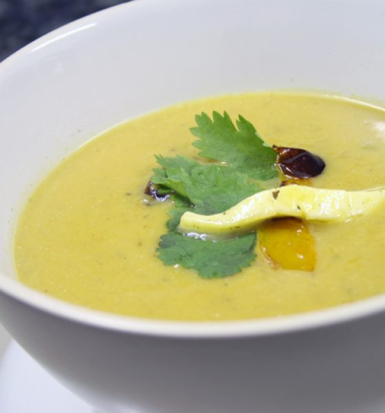 A spicy butternut soup with grilled yellow pepper and pan-fried haloumi