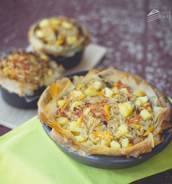 Freshly Blogged Challenge #1: Thai-veg phyllo pies with crispy noodle lids