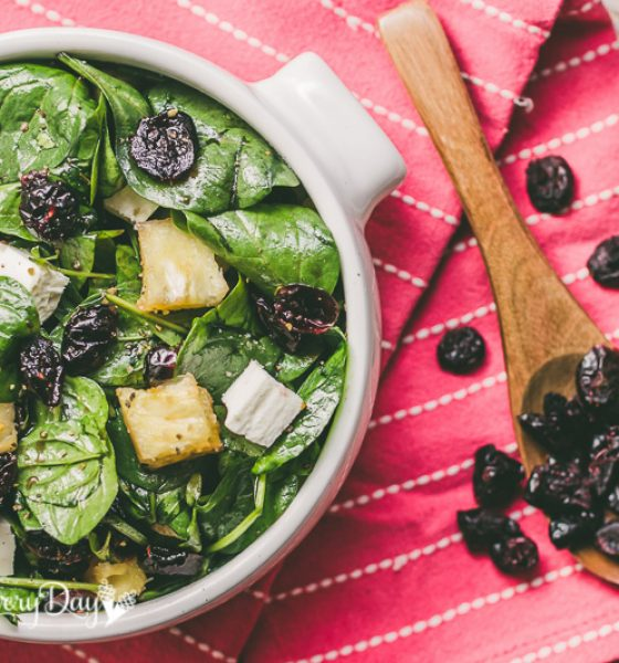 Salad Toss: Baby Spinach and Cranberry Reduction