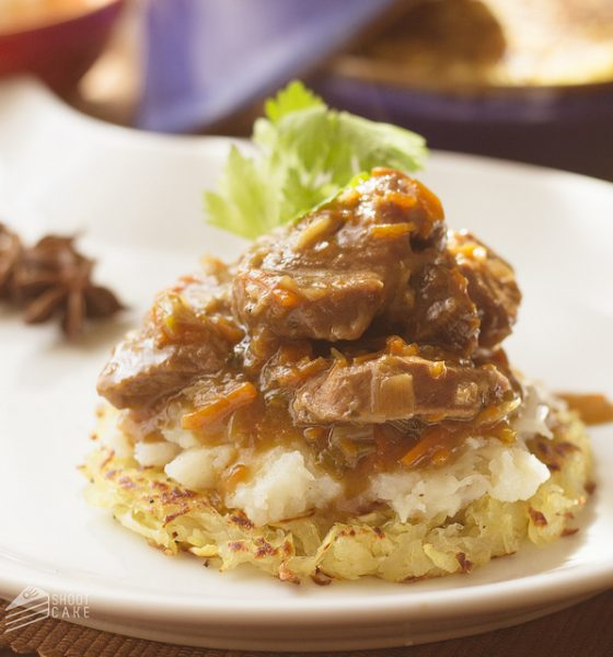 Freshly Blogged Challenge #2: Tagine Teriyaki Beef with Sweet Potato Rosti and Turnip Mash