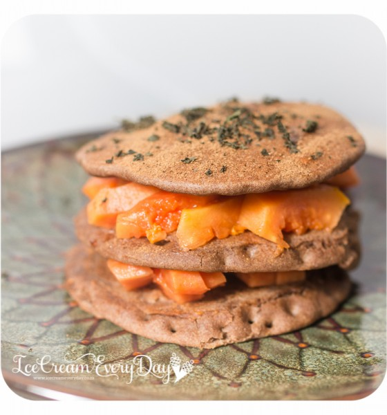 Teff pancakes with Papaya and Mint